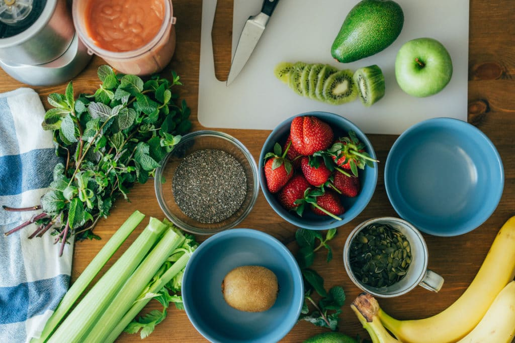 flat lay of unbranded, healthy low cost food